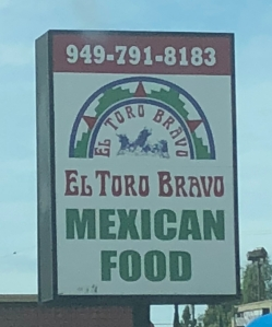 a picture of the sign in front of el toro bravo